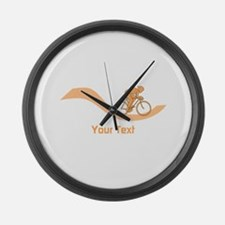 Cyclist in Orange. Custom Text. Large Wall Clock