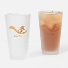 Cyclist in Orange. Custom Text. Drinking Glass