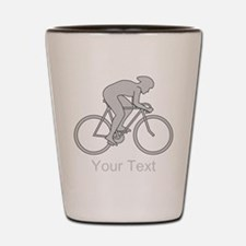 Gray Cycling Design and Text. Shot Glass