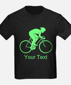 Cycling Design and Text. Green. T-Shirt