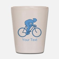 Blue Cycling Design and Text. Shot Glass