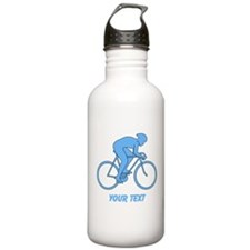 Blue Cycling Design and Text. Water Bottle