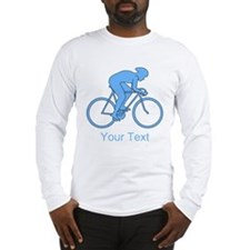 Blue Cycling Design and Text. Long Sleeve T-Shirt