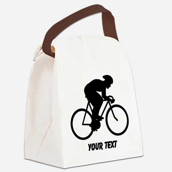 Cyclist Silhouette with Text. Canvas Lunch Bag