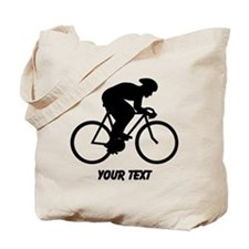 Cyclist Silhouette with Text. Tote Bag