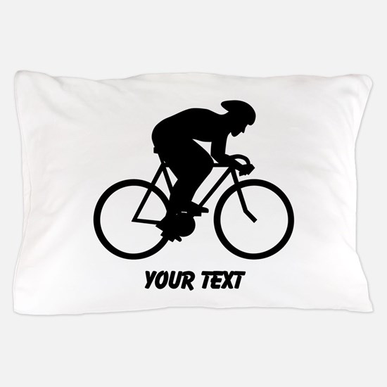 Cyclist Silhouette with Text. Pillow Case