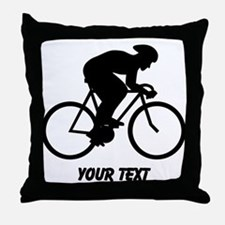 Cyclist Silhouette with Text. Throw Pillow