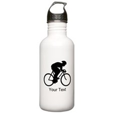 Cyclist Silhouette with Text. Water Bottle