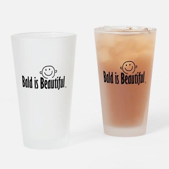 Bald is Beautiful logo Drinking Glass