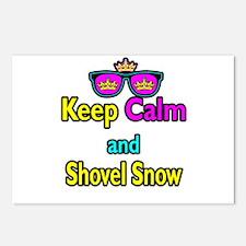 Crown Sunglasses Keep Calm And Shovel Snow Postcar