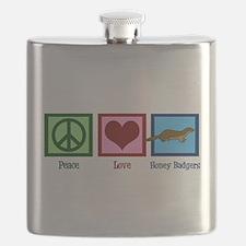 Peace Love Honey Badgers Flask