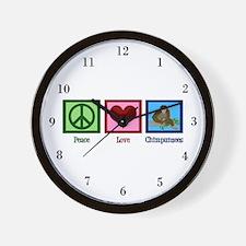 Peace Love Chimps Wall Clock