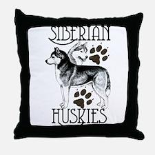 Siberian Huskies Throw Pillow