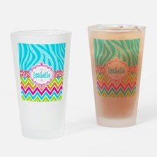 Bright Chevron Animal Print Drinking Glass