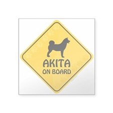"Akita On Board Square Sticker 3"" x 3"""