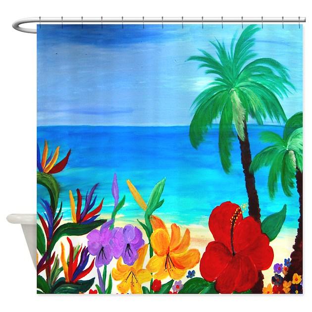 Tropical Beach Shower Curtain By Bythebeach