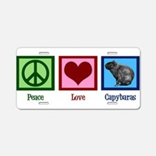Peace Love Capybaras Aluminum License Plate