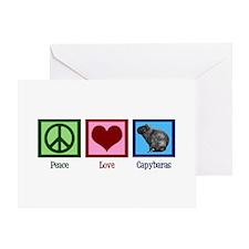 Peace Love Capybaras Greeting Card