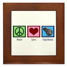 Peace Love Capybaras Framed Tile