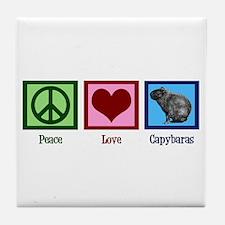Peace Love Capybaras Tile Coaster