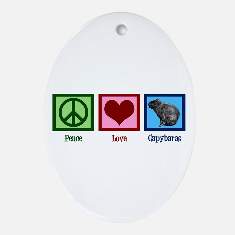 Peace Love Capybaras Ornament (Oval)