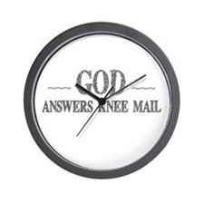 God Answers Knee Mail Wall Clock