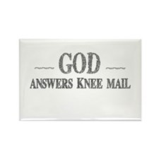 God Answers Knee Mail Rectangle Magnet