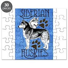 Siberian Huskies - Blue Puzzle