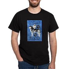 Siberian Huskies - Blue T-Shirt