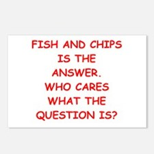 fish and chips Postcards (Package of 8)