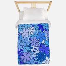 Groovy Blue Flowers Twin Duvet
