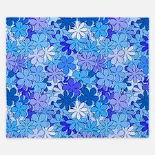 Groovy Blue Flowers King Duvet