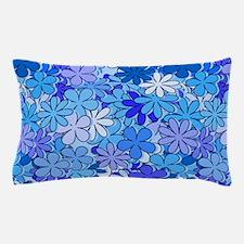 Groovy Blue Flowers Pillow Case