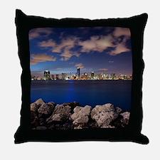 Miami Night Skyline Throw Pillow
