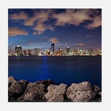 Miami Night Skyline Tile Coaster
