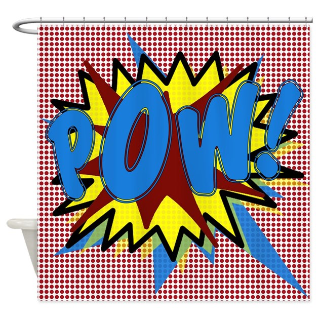 Pow superhero explosion shower curtain by walela for Superhero shower curtain