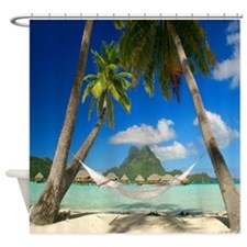 Tropical Paradise With Hammock Shower Curtain