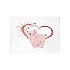 Cute Piggy Art 5'x7'Area Rug