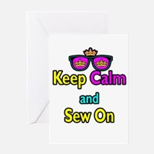 Crown Sunglasses Keep Calm And Sew On Greeting Car