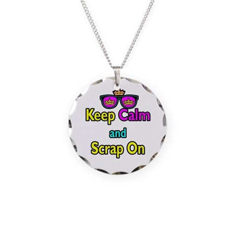 Crown Sunglasses Keep Calm And Scrap On Necklace C