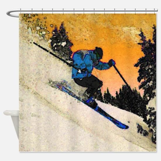 skier1 Shower Curtain