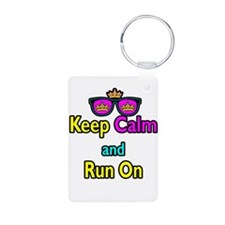 Crown Sunglasses Keep Calm And Run On Keychains