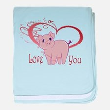 Love You, Cute Piggy Art baby blanket