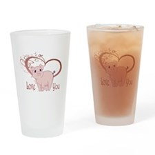 Love You, Cute Piggy Art Drinking Glass