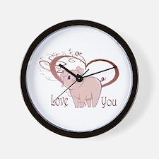 Love You, Cute Piggy Art Wall Clock