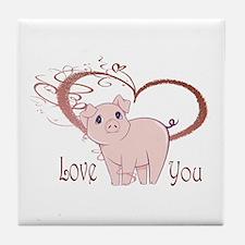 Love You, Cute Piggy Art Tile Coaster