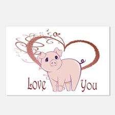 Love You, Cute Piggy Art Postcards (Package of 8)