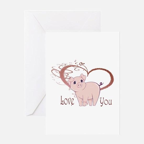 Love You, Cute Piggy Art Greeting Card