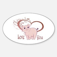 Love You, Cute Piggy Art Decal