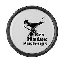 T-Rex Hates Push Ups 1 Large Wall Clock